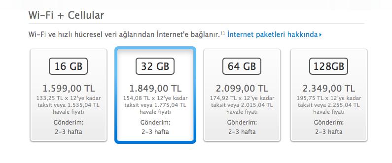 iPad Air Wifi + Hücresel Türkiye Fiyatları